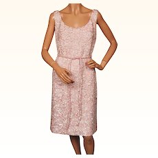 Vintage 60s Pink Beaded Wool Cocktail Dress Balore Made in Hong Kong Size L