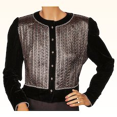 Vintage 1980s David Molho Paris Velvet Jacket w Lame Detailing Ladies L