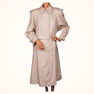 Vintage 1980s Aquascutum Raincoat Polka Dot Off White Ladies Size Large