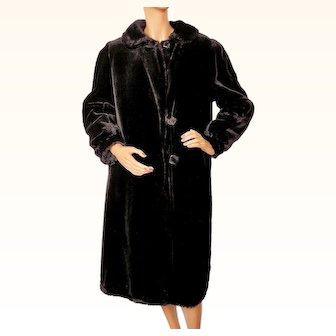 Vintage 1930s Black Plush Velvet Ladies Coat - S / M