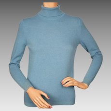 Vintage 1960s Scottish Cashmere Blue Turtleneck Sweater by Ballantyne Ladies Size M