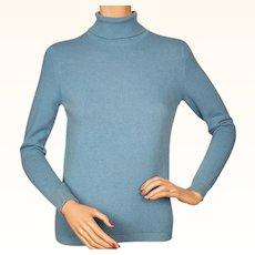 Vintage 1960s Scottish Cashmere Blue Turtleneck Sweater by Ballantyne Ladies Size M