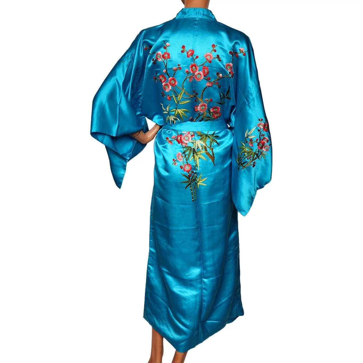 6719779a2788 Vintage 1960s Blue Chinese Silk Dressing Gown Robe - Cherry Blossom :  Poppy's Vintage Clothing | Ruby Lane