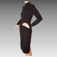 Vintage Italian Black Cashmere Sweater Dress Lily Simon Montreal Ladies Size Small