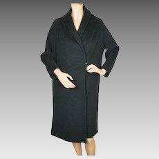 Vintage 1950s Einiger 24K Pure Cashmere Black Coat - Cherry and Webb - Ladies - M
