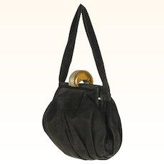 Vintage 1930s Apple Juice Bakelite Clasp Handbag Black Antelope Suede Purse