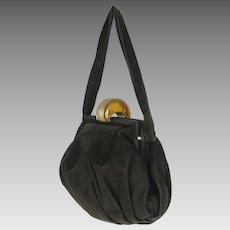 Vintage 1930s Apple Juice Bakelite Clasp Handbag Black Antelope Suede Purse