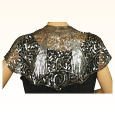 RESERVED Vintage 1930s Silver Sequin Collar Capelet Sequinned Black Net