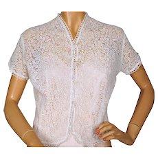 Vintage 1940s White Cotton Lace Blouse Top Size M