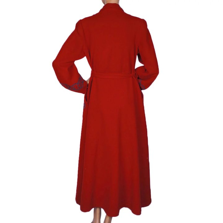 Reserved Vintage 1940s Red Wool Dressing Gown Lounging Robe Ladies