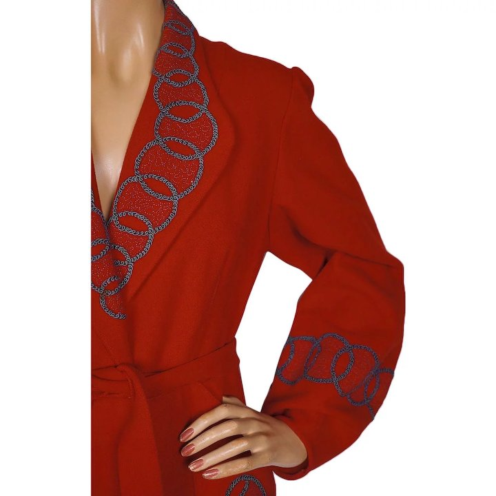 RESERVED Vintage 1940s Red Wool Dressing Gown Lounging Robe Ladies ...