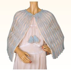 Vintage 1930s Bed Cape Hand Knit Wool Blue & Pink