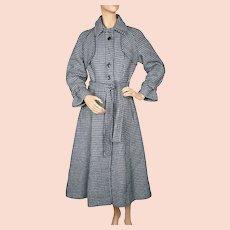 Vintage 1970s Tweed Wool Houndstooth Coat Princess Style Trench Sz S M Blue Black
