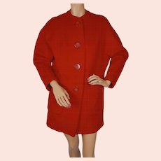 Vintage 1960s Red Wool Coat by Frenchshire Ladies Size M