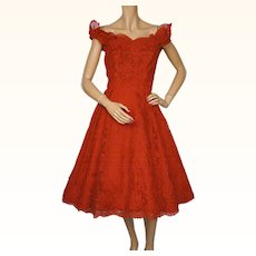 Vintage 1950s Red Chantilly Lace Dress Simpsons New York Import Size M