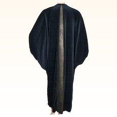 Vintage 1980s Black Velvet Cocoon Coat Ladies XL Batwing Sleeve Erté Inspired