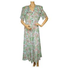 RESERVED Vintage 1940s Day Dress Sheer Floral Novelty Print - Rayon Size L