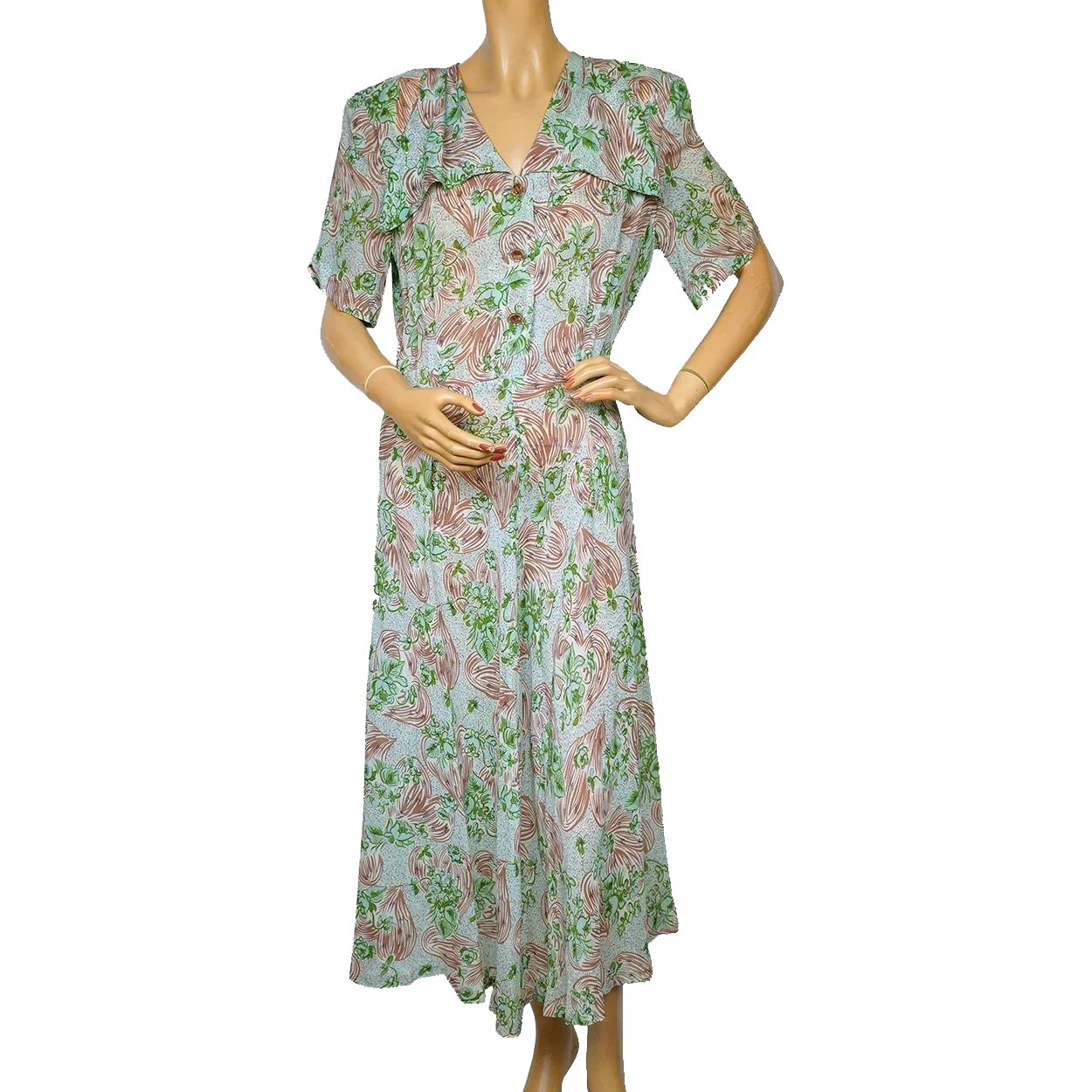 de387efaeac Vintage 1940s Day Dress Sheer Floral Novelty Print - Rayon Size L   Poppy s  Vintage Clothing