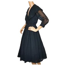 RESERVED Vintage 1950s Dress Black Rayon Chiffon  with Large Shawl Collar Size M