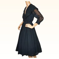 Vintage 1950s Dress Black Rayon Chiffon  with Large Shawl Collar Size M