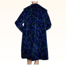 Vintage 1960s Printed Velvet Coat Floral Print Lydia Montreal Ladies Size M