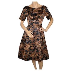 RESERVED Vintage 1950s Floral Print Silk Cocktail Party Dress Size S M