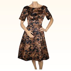 Vintage 1950s Floral Print Silk Cocktail Party Dress Size S M