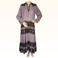 Vintage 1970s Indian Cotton Gauze Dres Violet Floral Print Unused