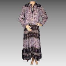Vintage Indian Cotton Gauze Dress 1970s Violet Floral Ptn NOS Deadstock