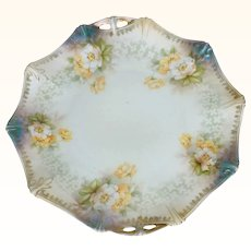 Antique RS PRUSSIA Porcelain Plate Reinhold Schlegelmilch Floral Design Red Mark