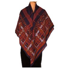Vintage 1970s Lanvin Paris Shawl Geometric Print Wool Challis Large Scarf