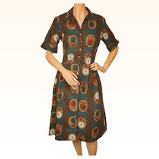Vintage 1960s Day Dress Floral Printed Cotton Miss Berkeley New York Size L