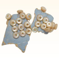 Antique Victorian MOP Baby Doll Buttons Set 24 Tiny 6mm Mother of Pearl on Card