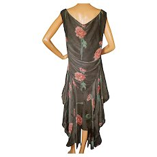 RESERVED Vintage 1920s Silk Metallic Gold Lamé Dress with Rose Print