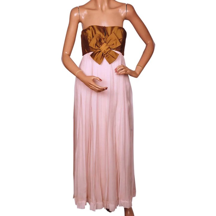 Vintage 1960s Pink Silk Chiffon Evening Gown and Bronze Silk Coat ...
