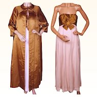 Vintage 1960s Pink Silk Chiffon Evening Gown and Bronze Silk Coat