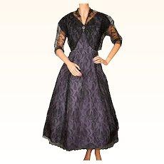 RESERVED Vintage 1950s Black Lace and Purple Taffeta Dress with Bolero Large