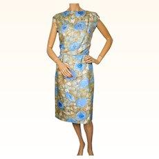 Vintage 1960s Floral Print Silk Dress with Sequins Size M