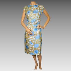 Vintage 1960s Floral Print Silk Dress with Sequins Size M