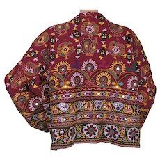 Vintage 1960s Hippie Indian Banjara Tribal Jacket Hand Embroidered & Mirrored L XL
