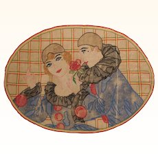 Art Deco Pierrot & Columbine Embroidery Pillow Cover Doily Embroidered Clowns