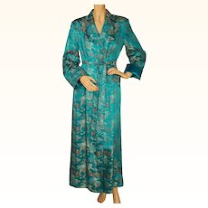 Vintage 1950s Dressing Gown Aqua Satin Asian Chinese Motifs Lounging Robe M