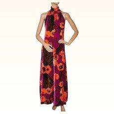 Vintage 1970s Velvet Dress Mod Floral Print High Neck Cold Shoulders Size M