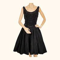 Vintage 1950s Party Dress Beaded Velvet Bodice Taffeta Skirt Size M