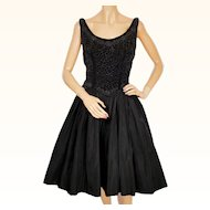 Vintage 1950s Party Dress Beaded Velvet Bodice Taffeta Skirt Size M