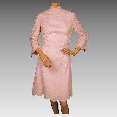 Vintage 1960s Pink Lace Dress - Med