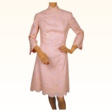 Vintage 1960s Pink Lace Dress - Med