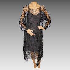 Vintage 1920s Black Lace Dress Size M L