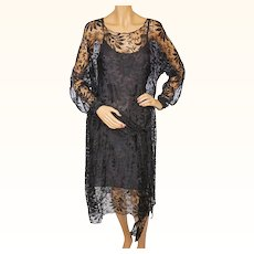 Vintage 1920s Black Lace Dress Size M L