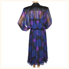 Vintage 1980s Dress Blue Roses Draped Chiffon by Marita Risse Size M L